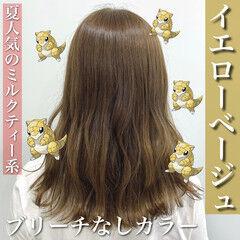 ミルクティーベージュ 髪質改善 ミルクティー ロング ヘアスタイルや髪型の写真・画像