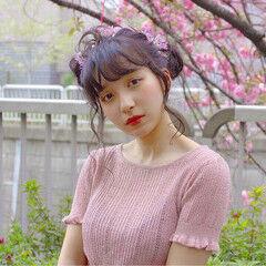 セミロング 甘め ピンク アップスタイル ヘアスタイルや髪型の写真・画像