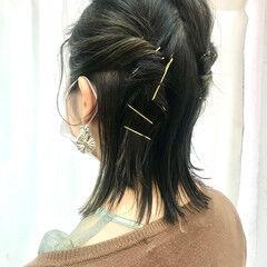 結婚式ヘアアレンジ ミディアム ガーリー セルフヘアアレンジ ヘアスタイルや髪型の写真・画像