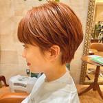 ショートヘア ハンサムショート オレンジカラー モード