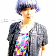 アッシュ ストリート ブルー 黒髪 ヘアスタイルや髪型の写真・画像