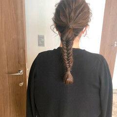 編み込み セミロング ヘアセット 編みおろし ヘアスタイルや髪型の写真・画像