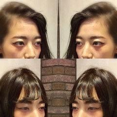 ダブルバング 黒髪 ナチュラル セミロング ヘアスタイルや髪型の写真・画像