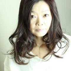 50代 ロング パーマ 40代 ヘアスタイルや髪型の写真・画像