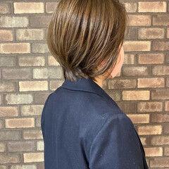 小顔ショート スロウ ボブ イルミナカラー ヘアスタイルや髪型の写真・画像