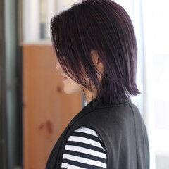 ネイビーブルー ボブ 切りっぱなしボブ ラベンダーピンク ヘアスタイルや髪型の写真・画像