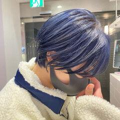 ブルーラベンダー ネイビーブルー モード ブリーチカラー ヘアスタイルや髪型の写真・画像