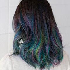 セミロング モード ミディアムヘアー レインボー ヘアスタイルや髪型の写真・画像