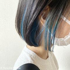 ターコイズ ミニボブ ターコイズブルー インナーカラー ヘアスタイルや髪型の写真・画像