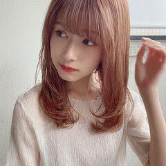 ストレート デジタルパーマ 縮毛矯正 セミロング ヘアスタイルや髪型の写真・画像