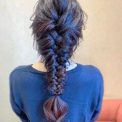 編みおろし お呼ばれ ヘアアレンジ フェミニン ヘアスタイルや髪型の写真・画像