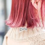 ショート ピンクアッシュ オレンジブラウン ピンクパープル