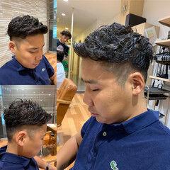 刈り上げ ショート メンズパーマ ナチュラル ヘアスタイルや髪型の写真・画像