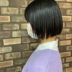 イルミナカラー ナチュラル ボブ スロウ ヘアスタイルや髪型の写真・画像