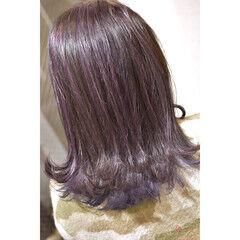 フェミニン 大人ハイライト セミロング ハイライト ヘアスタイルや髪型の写真・画像