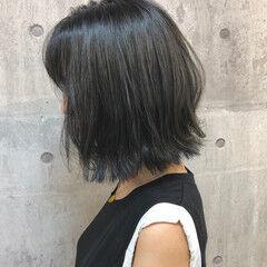 ダークカラー ブルーアッシュ ボブ 外ハネボブ ヘアスタイルや髪型の写真・画像