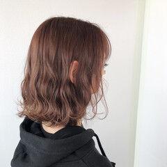 フェミニン ボブ ピンクラベンダー ヘアスタイルや髪型の写真・画像