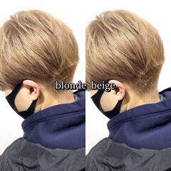 ヘアカラー ショート ブロンドカラー ブロンド ヘアスタイルや髪型の写真・画像