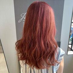 フェミニン ピンクヘア ピンク ロング ヘアスタイルや髪型の写真・画像