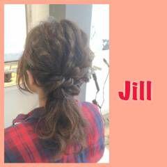 ミディアム ショート 簡単ヘアアレンジ ローポニーテール ヘアスタイルや髪型の写真・画像
