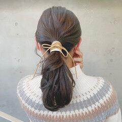紐アレンジ 簡単ヘアアレンジ ヘアアレンジ フェミニン ヘアスタイルや髪型の写真・画像