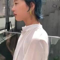 ブルーアッシュ ブルー ホワイトブリーチ ショート ヘアスタイルや髪型の写真・画像