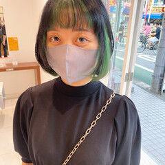 前髪インナーカラー ウルフレイヤー ボブ インナーカラーボブ ヘアスタイルや髪型の写真・画像