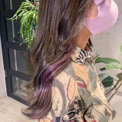 イヤリングカラー 透明感カラー ピンクバイオレット ラベンダー ヘアスタイルや髪型の写真・画像