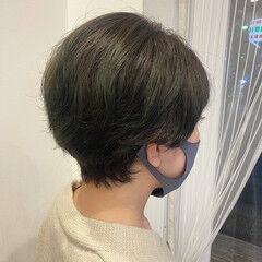 ハイライト ベリーショート オリーブアッシュ ショートヘア ヘアスタイルや髪型の写真・画像