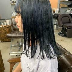 セミロング ネイビーブルー ネイビー ネイビーカラー ヘアスタイルや髪型の写真・画像