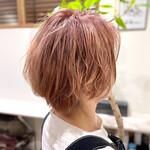 ショート ピンク ブリーチカラー ショートヘア