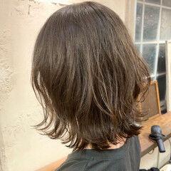 外ハネボブ ナチュラル パーマ ゆるふわパーマ ヘアスタイルや髪型の写真・画像