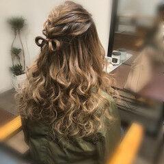 ヘアアレンジ ハーフアップ 編み込み ガーリー ヘアスタイルや髪型の写真・画像