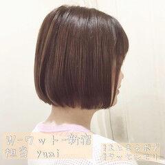 韓国ヘア ショートボブ ミニボブ ピンクベージュ ヘアスタイルや髪型の写真・画像
