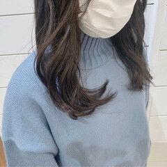 ロング ダークアッシュ 暗髪 透明感 ヘアスタイルや髪型の写真・画像
