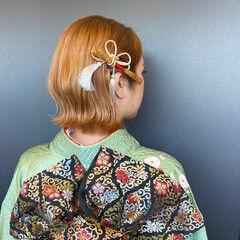 ボブ ナチュラル ミニボブ 成人式ヘア ヘアスタイルや髪型の写真・画像