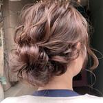 ルーズヘア セミロング まとめ髪 結婚式ヘアアレンジ