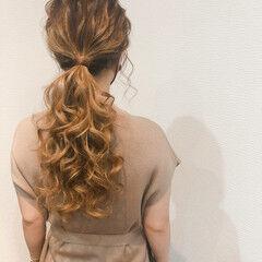 ローポニー フェミニン ポニーテール ヘアセット ヘアスタイルや髪型の写真・画像