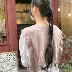 編みおろし ロング ポニーアレンジ フィッシュボーン ヘアスタイルや髪型の写真・画像