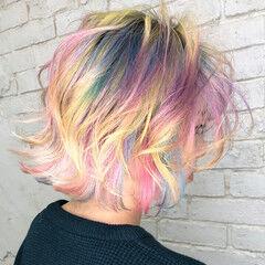 ストリート ユニコーンカラー ボブ 派手髪 ヘアスタイルや髪型の写真・画像