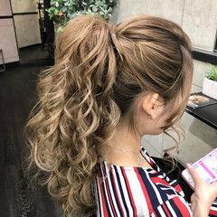 ポニーテール エレガント 夏 ロング ヘアスタイルや髪型の写真・画像