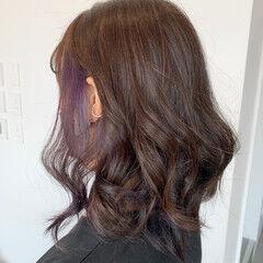 大人ハイライト フェミニン ラベンダー ブルーラベンダー ヘアスタイルや髪型の写真・画像