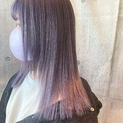 ミディアム フェミニン パープルカラー ラベンダーピンク ヘアスタイルや髪型の写真・画像