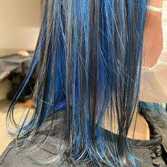 ブルーアッシュ 韓国 ブルー 韓国風ヘアー ヘアスタイルや髪型の写真・画像