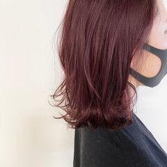 ピンク ベリーピンク ボブ ナチュラル ヘアスタイルや髪型の写真・画像