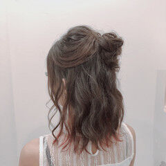 お団子 ゆるナチュラル ミディアム ヘアアレンジ ヘアスタイルや髪型の写真・画像