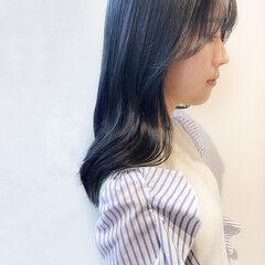ブルージュ ブルーアッシュ ナチュラル ブルーブラック ヘアスタイルや髪型の写真・画像