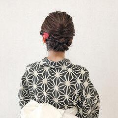 和装ヘア 浴衣アレンジ ミディアム エレガント ヘアスタイルや髪型の写真・画像