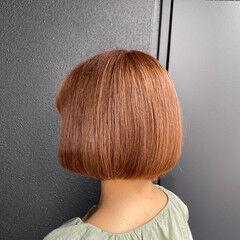 韓国風ヘアー モード ピンクブラウン ピンクベージュ ヘアスタイルや髪型の写真・画像