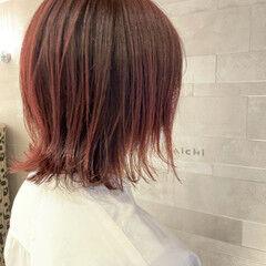 くびれボブ ミニボブ ベリーピンク フェミニン ヘアスタイルや髪型の写真・画像